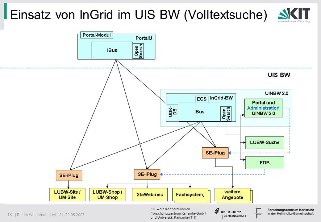 KIT – die Kooperation von Forschungszentrum Karlsruhe GmbH und Universität Karlsruhe (TH) 18 | Rainer Weidemann | IAI | 21./22.05.2007 Einsatz von InGrid im UIS BW (Volltextsuche)