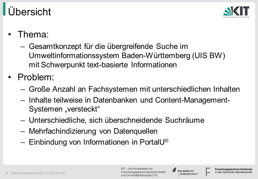 KIT – die Kooperation von Forschungszentrum Karlsruhe GmbH und Universität Karlsruhe (TH) 23   Rainer Weidemann   IAI   21./22.05.2007 Einsatz von InGrid im UIS BW (Metadaten)