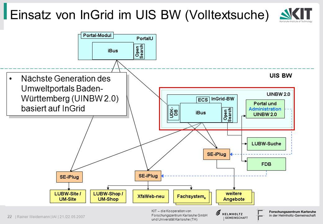 KIT – die Kooperation von Forschungszentrum Karlsruhe GmbH und Universität Karlsruhe (TH) 22 | Rainer Weidemann | IAI | 21./22.05.2007 Einsatz von InGrid im UIS BW (Volltextsuche) Nächste Generation des Umweltportals Baden- Württemberg (UINBW 2.0) basiert auf InGrid