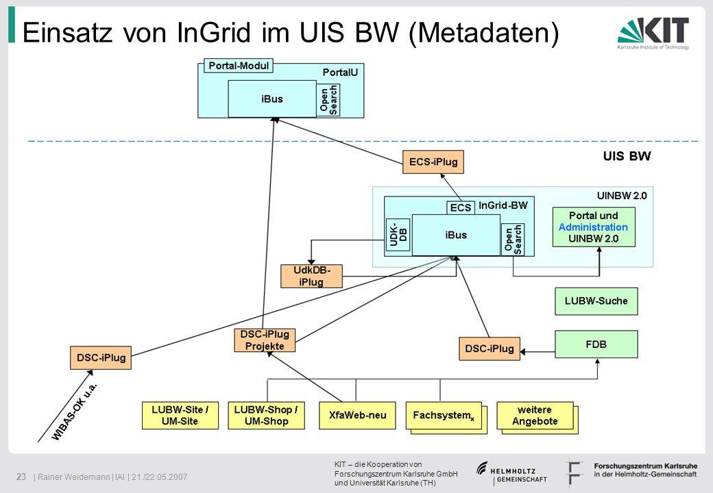 KIT – die Kooperation von Forschungszentrum Karlsruhe GmbH und Universität Karlsruhe (TH) 23 | Rainer Weidemann | IAI | 21./22.05.2007 Einsatz von InGrid im UIS BW (Metadaten)