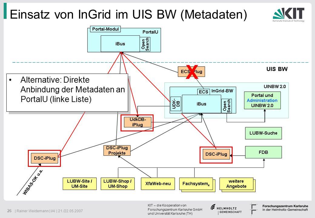 KIT – die Kooperation von Forschungszentrum Karlsruhe GmbH und Universität Karlsruhe (TH) 26 | Rainer Weidemann | IAI | 21./22.05.2007 Einsatz von InGrid im UIS BW (Metadaten) Alternative: Direkte Anbindung der Metadaten an PortalU (linke Liste) X