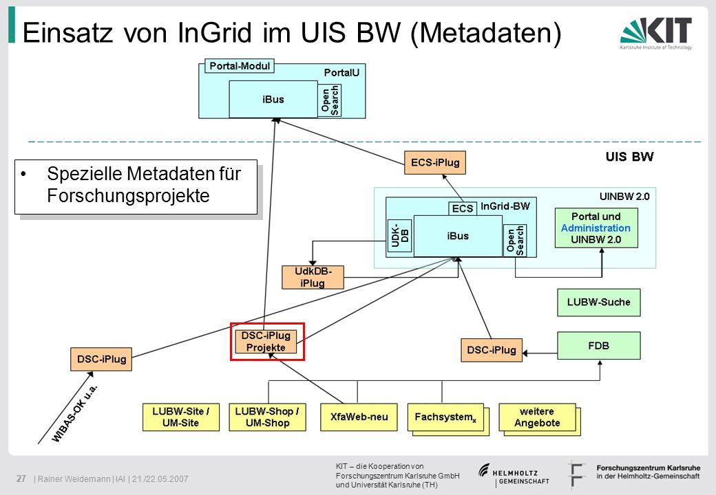 KIT – die Kooperation von Forschungszentrum Karlsruhe GmbH und Universität Karlsruhe (TH) 27 | Rainer Weidemann | IAI | 21./22.05.2007 Einsatz von InGrid im UIS BW (Metadaten) Spezielle Metadaten für Forschungsprojekte