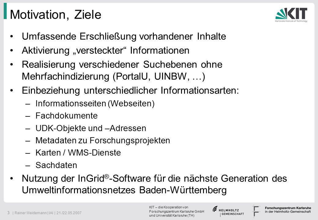 KIT – die Kooperation von Forschungszentrum Karlsruhe GmbH und Universität Karlsruhe (TH) 14   Rainer Weidemann   IAI   21./22.05.2007 ECS-iPlug Metadatenbank (extern) Forschungs-DB (extern) Fachdatenbank (extern) DSC-iPlug WMS (extern) WMS-Viewer WMS PortalU Portal-DBUDK-DB CSW-iPlug CSW (extern) g2k-iPlug FPN-iPlug Forschungsportal (extern) SNS-iPlug SNS (extern) SE-iPlug HTTP Index UDKdb-iPlug Index iBus CSW GeoMis.Bund Index Portal ECS Metadaten- Systeme (extern) OpenSearch MetaGer.de lokale Portale  Koordinierungsstelle PortalU, 2006