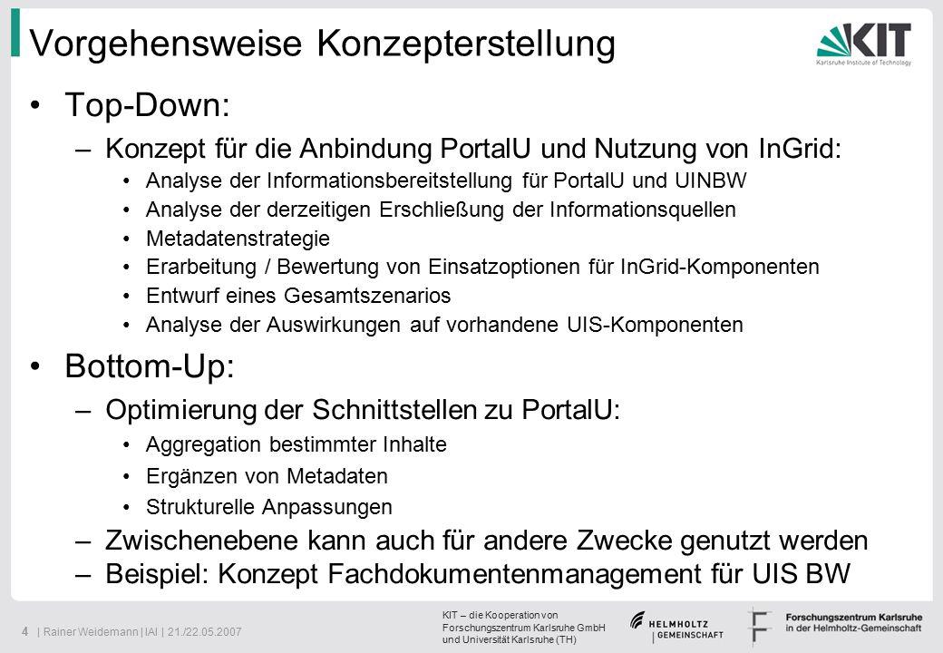 KIT – die Kooperation von Forschungszentrum Karlsruhe GmbH und Universität Karlsruhe (TH) 25   Rainer Weidemann   IAI   21./22.05.2007 Einsatz von InGrid im UIS BW (Metadaten) Verteilte Pflege der UDK- Metadaten Zusammenführung in InGrid-BW Anschluss an PortalU über ESC-iPlug (rechte Liste) Verteilte Pflege der UDK- Metadaten Zusammenführung in InGrid-BW Anschluss an PortalU über ESC-iPlug (rechte Liste)