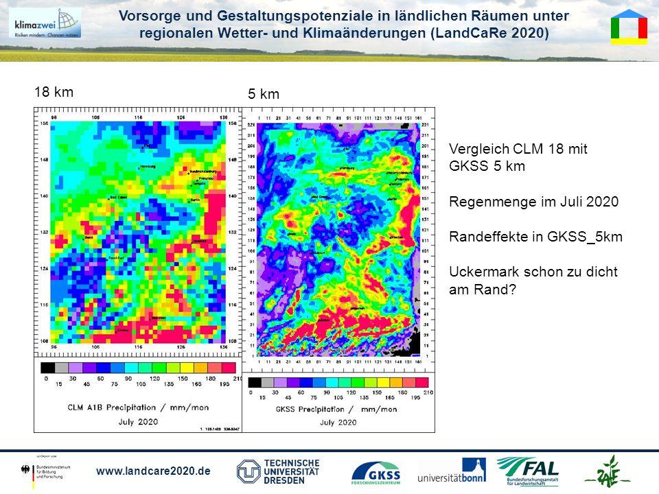 Vorsorge und Gestaltungspotenziale in ländlichen Räumen unter regionalen Wetter- und Klimaänderungen (LandCaRe 2020) www.landcare2020.de 18 km 5 km Vergleich CLM 18 mit GKSS 5 km Regenmenge im Juli 2020 Randeffekte in GKSS_5km Uckermark schon zu dicht am Rand