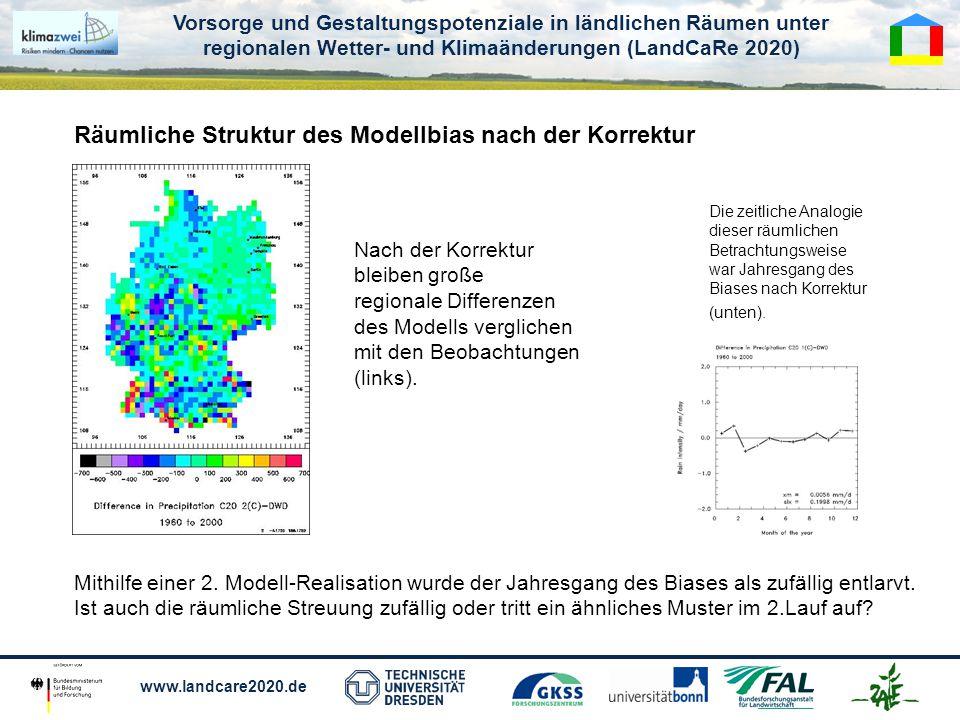 Vorsorge und Gestaltungspotenziale in ländlichen Räumen unter regionalen Wetter- und Klimaänderungen (LandCaRe 2020) www.landcare2020.de Nach der Korrektur bleiben große regionale Differenzen des Modells verglichen mit den Beobachtungen (links).