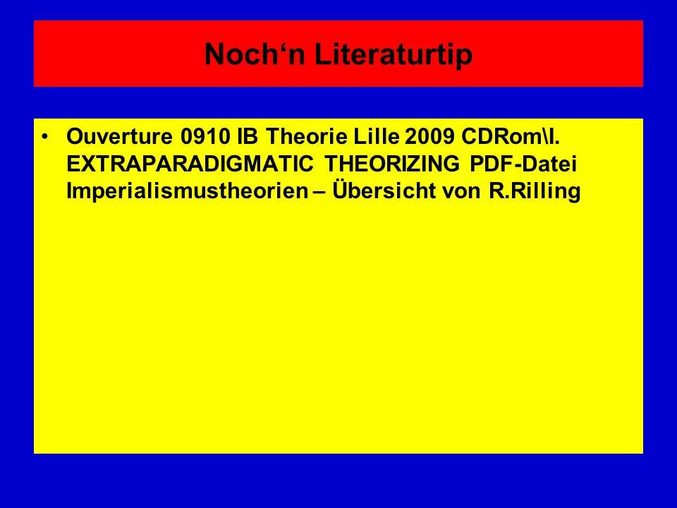 Noch'n Literaturtip Ouverture 0910 IB Theorie Lille 2009 CDRom\I. EXTRAPARADIGMATIC THEORIZING PDF-Datei Imperialismustheorien – Übersicht von R.Rilli