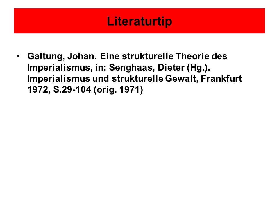 Literaturtip Galtung, Johan. Eine strukturelle Theorie des Imperialismus, in: Senghaas, Dieter (Hg.). Imperialismus und strukturelle Gewalt, Frankfurt