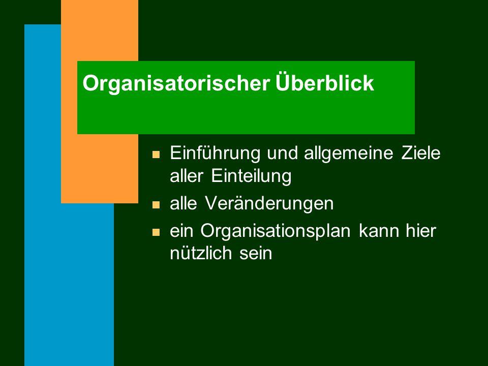Organisatorischer Überblick n Einführung und allgemeine Ziele aller Einteilung n alle Veränderungen n ein Organisationsplan kann hier nützlich sein