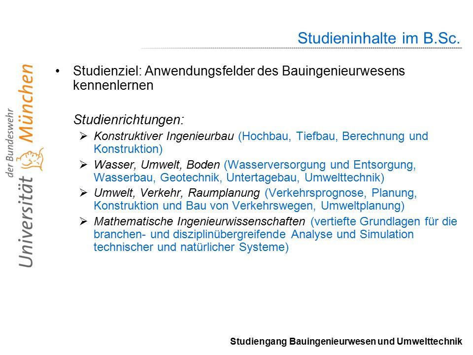Studiengang Bauingenieurwesen und Umwelttechnik Studieninhalte im B.Sc.