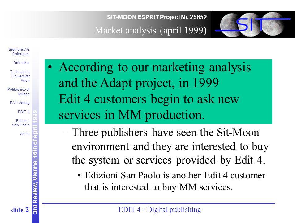 3rd Review, Vienna, 16th of April 1999 SIT-MOON ESPRIT Project Nr. 25652 Siemens AG Österreich Robotiker Technische Universität Wien Politecnico di Mi