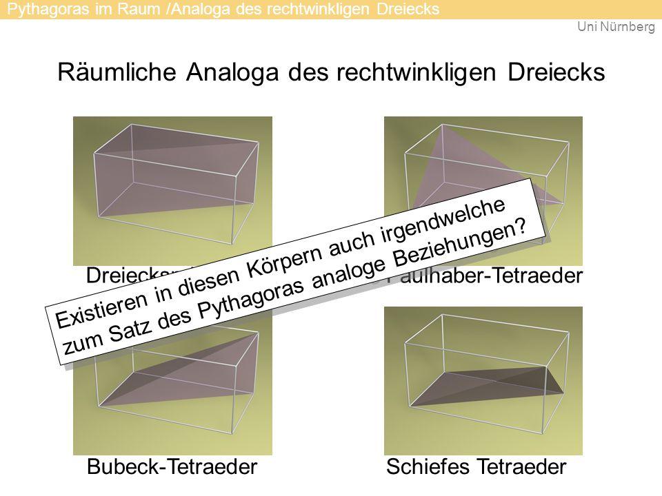 Uni Nürnberg Räumliche Analoga des rechtwinkligen Dreiecks DreiecksprismaFaulhaber-Tetraeder Schiefes TetraederBubeck-Tetraeder Pythagoras im Raum /Analoga des rechtwinkligen Dreiecks Existieren in diesen Körpern auch irgendwelche zum Satz des Pythagoras analoge Beziehungen?