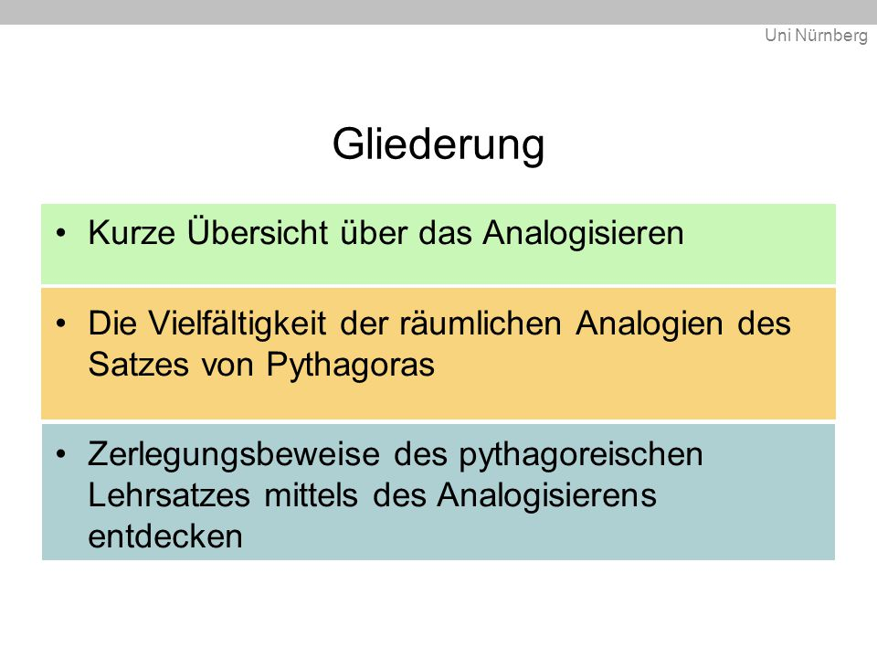 Uni Nürnberg Gliederung Kurze Übersicht über das Analogisieren Die Vielfältigkeit der räumlichen Analogien des Satzes von Pythagoras Zerlegungsbeweise des pythagoreischen Lehrsatzes mittels des Analogisierens entdecken