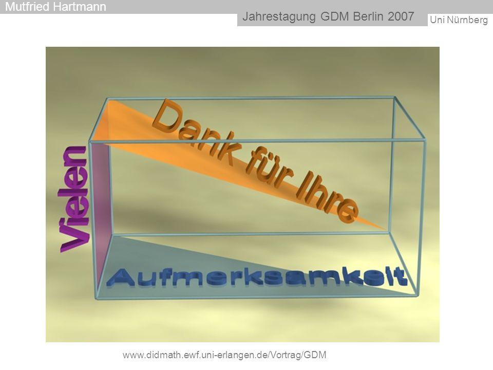 Uni Nürnberg Jahrestagung GDM Berlin 2007 Mutfried Hartmann www.didmath.ewf.uni-erlangen.de/Vortrag/GDM