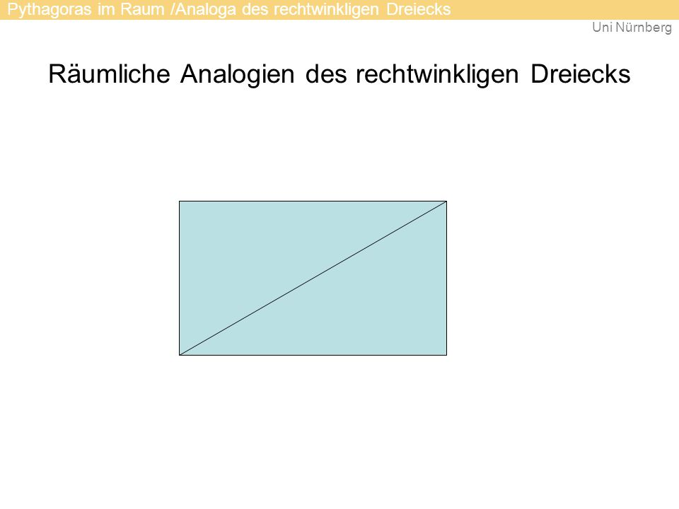 Uni Nürnberg Räumliche Analogien des rechtwinkligen Dreiecks Pythagoras im Raum /Analoga des rechtwinkligen Dreiecks