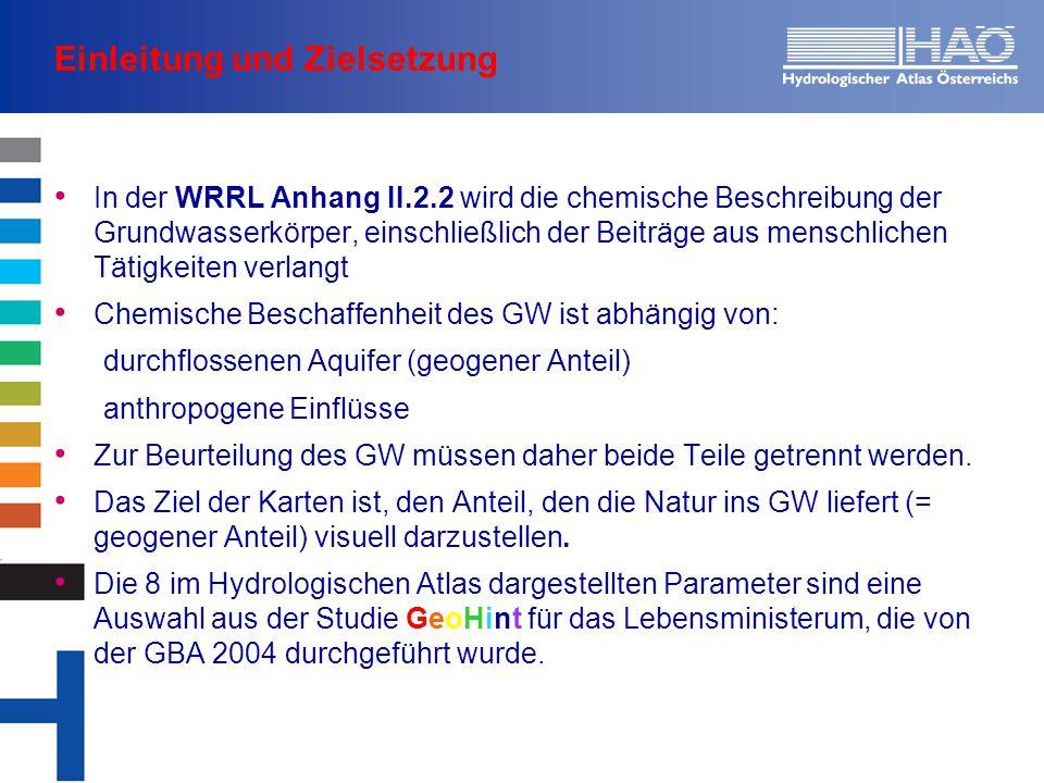 Einleitung und Zielsetzung In der WRRL Anhang II.2.2 wird die chemische Beschreibung der Grundwasserkörper, einschließlich der Beiträge aus menschlichen Tätigkeiten verlangt Chemische Beschaffenheit des GW ist abhängig von: durchflossenen Aquifer (geogener Anteil) anthropogene Einflüsse Zur Beurteilung des GW müssen daher beide Teile getrennt werden.