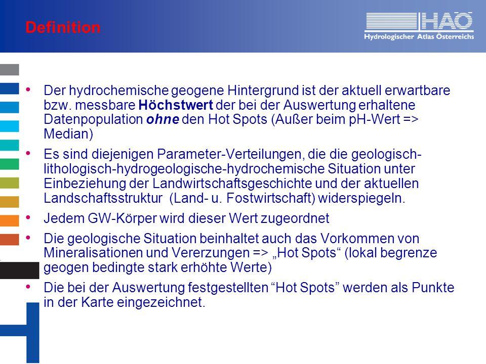 Definition Der hydrochemische geogene Hintergrund ist der aktuell erwartbare bzw. messbare Höchstwert der bei der Auswertung erhaltene Datenpopulation