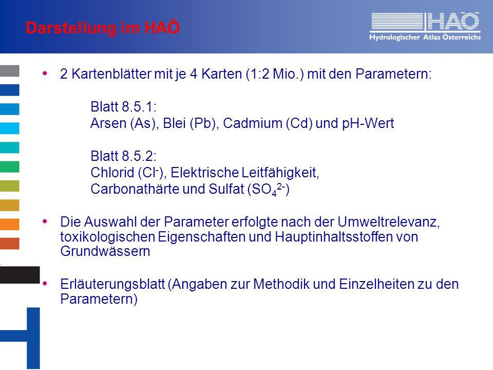 Darstellung im HAÖ 2 Kartenblätter mit je 4 Karten (1:2 Mio.) mit den Parametern: Blatt 8.5.1: Arsen (As), Blei (Pb), Cadmium (Cd) und pH-Wert Blatt 8.5.2: Chlorid (Cl - ), Elektrische Leitfähigkeit, Carbonathärte und Sulfat (SO 4 2- ) Die Auswahl der Parameter erfolgte nach der Umweltrelevanz, toxikologischen Eigenschaften und Hauptinhaltsstoffen von Grundwässern Erläuterungsblatt (Angaben zur Methodik und Einzelheiten zu den Parametern)