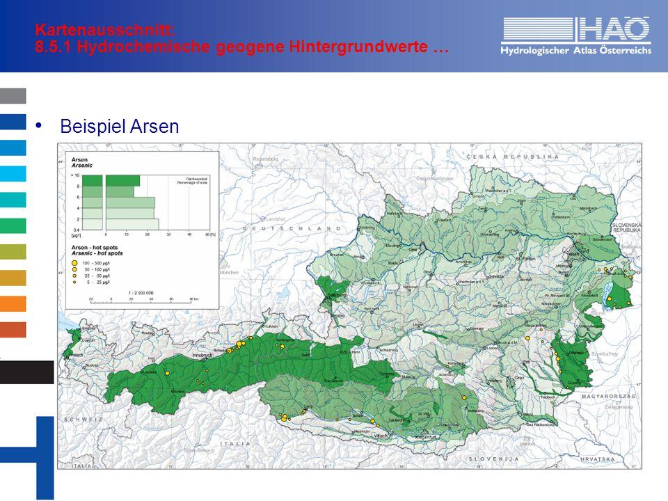 Kartenausschnitt: 8.5.1 Hydrochemische geogene Hintergrundwerte … Beispiel Arsen