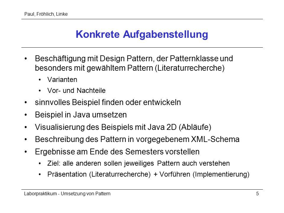 Paul, Fröhlich, Linke Laborpraktikum - Umsetzung von Pattern5 Konkrete Aufgabenstellung Beschäftigung mit Design Pattern, der Patternklasse und besonders mit gewähltem Pattern (Literaturrecherche) Varianten Vor- und Nachteile sinnvolles Beispiel finden oder entwickeln Beispiel in Java umsetzen Visualisierung des Beispiels mit Java 2D (Abläufe) Beschreibung des Pattern in vorgegebenem XML-Schema Ergebnisse am Ende des Semesters vorstellen Ziel: alle anderen sollen jeweiliges Pattern auch verstehen Präsentation (Literaturrecherche) + Vorführen (Implementierung)