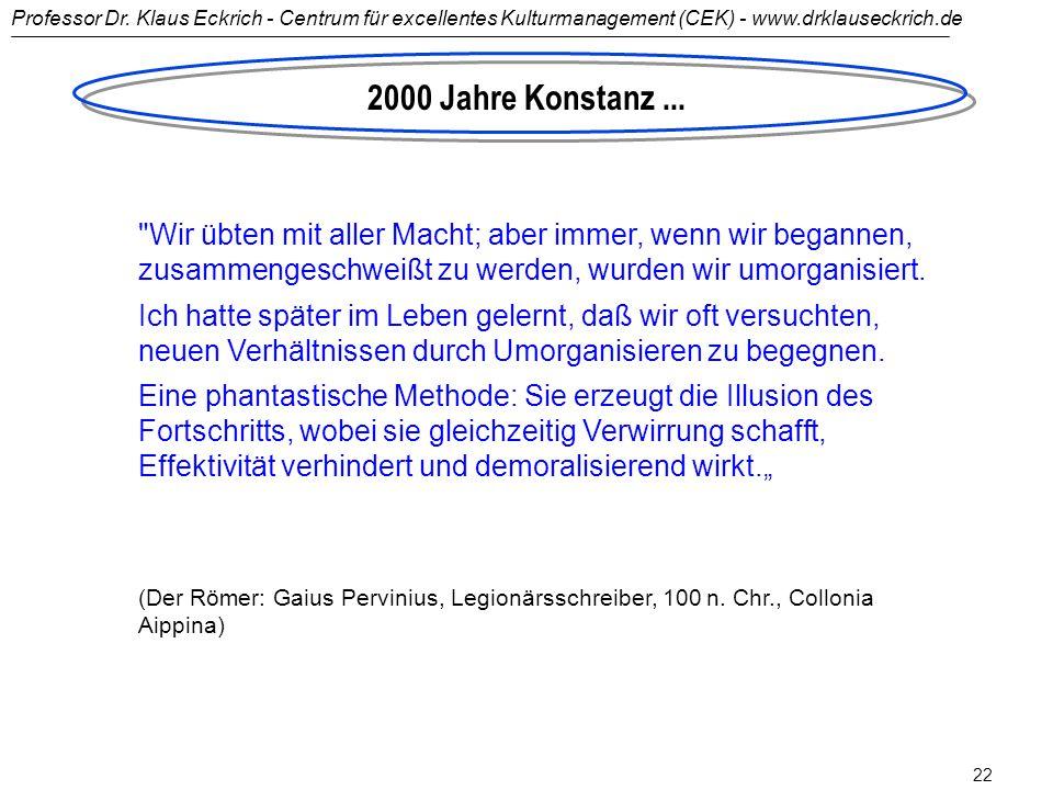 Professor Dr. Klaus Eckrich - Centrum für excellentes Kulturmanagement (CEK) - www.drklauseckrich.de 21 Wir übten ohne Unterlass, doch jedes Mal, wenn