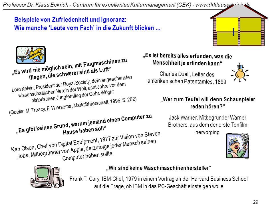 Professor Dr. Klaus Eckrich - Centrum für excellentes Kulturmanagement (CEK) - www.drklauseckrich.de 28 3wir sind doch der Marktführer 3die da oben wo