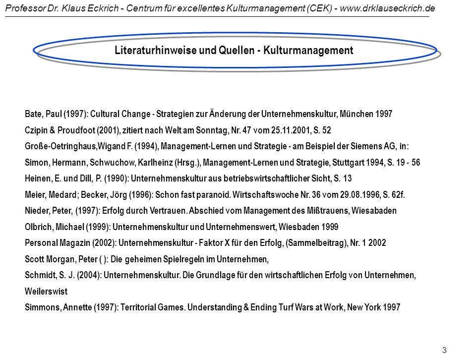 Professor Dr. Klaus Eckrich - Centrum für excellentes Kulturmanagement (CEK) - www.drklauseckrich.de 2 Literaturhinweise und Quellen - Change Manageme