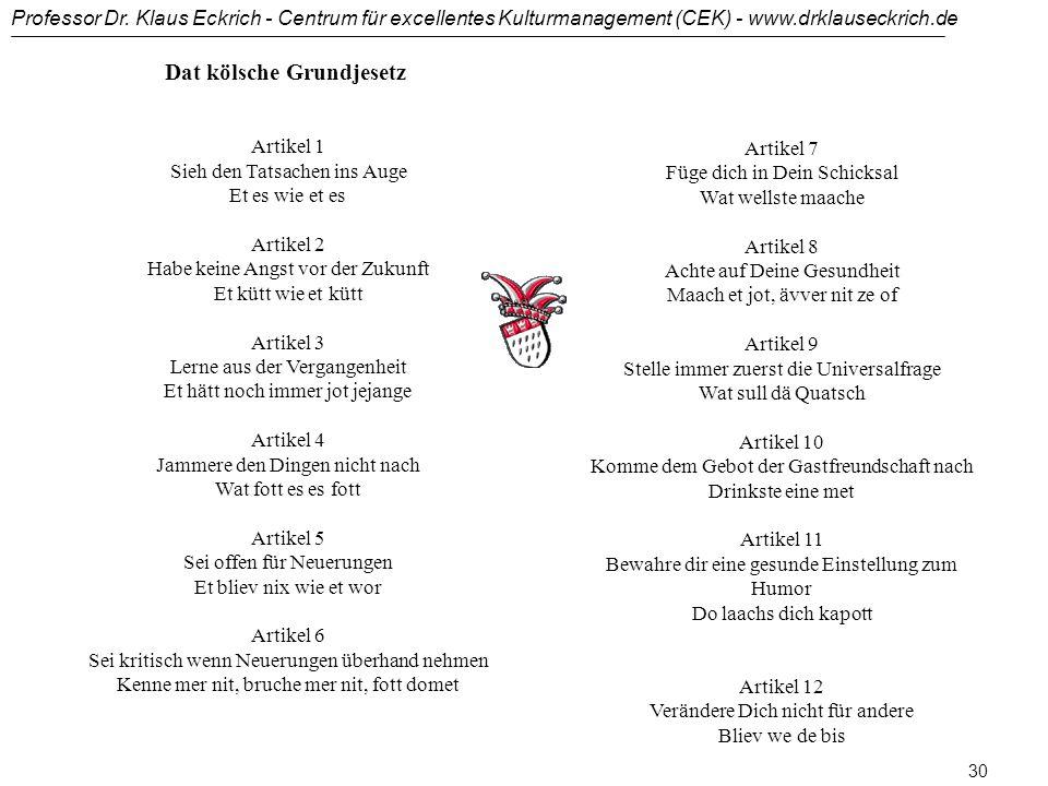 Professor Dr. Klaus Eckrich - Centrum für excellentes Kulturmanagement (CEK) - www.drklauseckrich.de 29 Beispiele von Zufriedenheit und Ignoranz: Wie