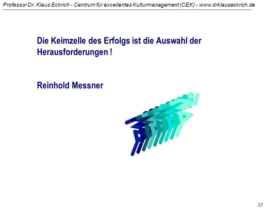 Professor Dr. Klaus Eckrich - Centrum für excellentes Kulturmanagement (CEK) - www.drklauseckrich.de 36 You can't solve a problem with the same thinki
