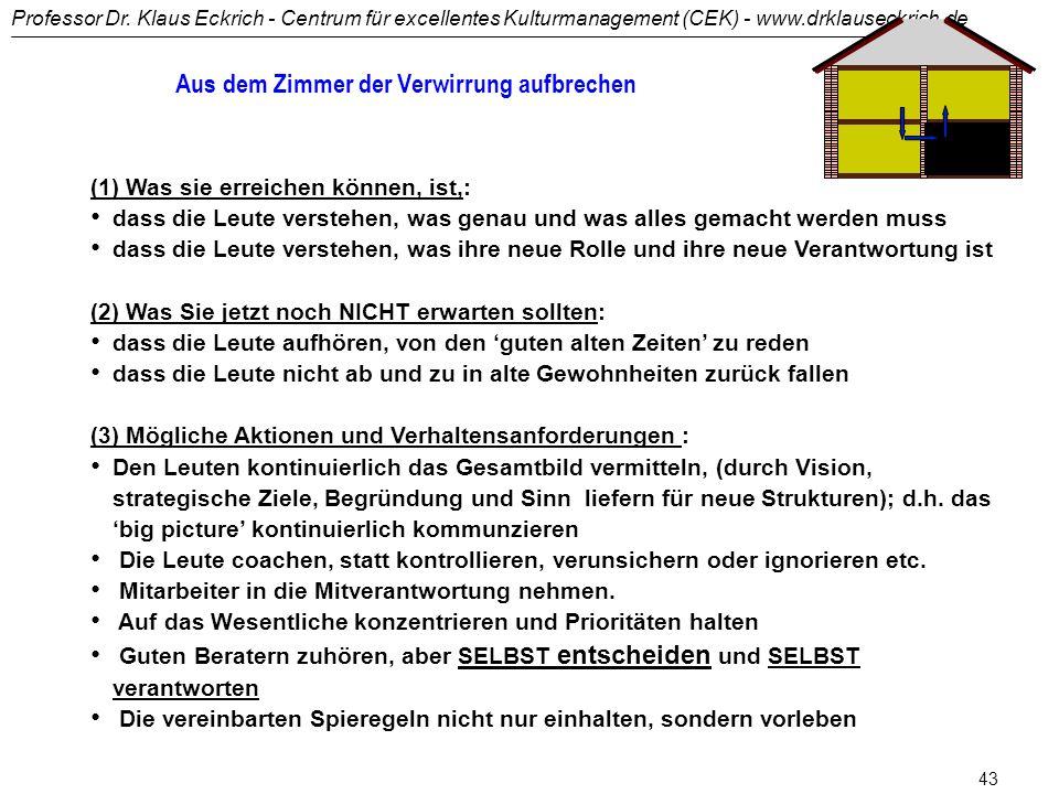 """Professor Dr. Klaus Eckrich - Centrum für excellentes Kulturmanagement (CEK) - www.drklauseckrich.de 42 """"Nachdem wir das Ziel aus den Augen verloren h"""