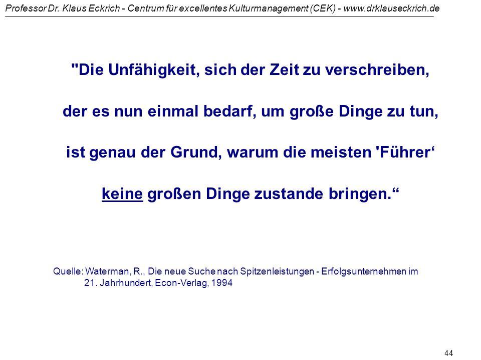 Professor Dr. Klaus Eckrich - Centrum für excellentes Kulturmanagement (CEK) - www.drklauseckrich.de 43 Aus dem Zimmer der Verwirrung aufbrechen (1) W