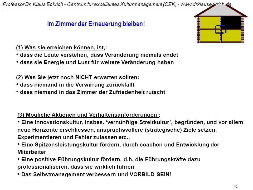 Professor Dr. Klaus Eckrich - Centrum für excellentes Kulturmanagement (CEK) - www.drklauseckrich.de 44