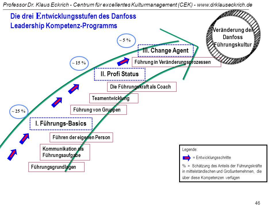 Professor Dr. Klaus Eckrich - Centrum für excellentes Kulturmanagement (CEK) - www.drklauseckrich.de 45 Im Zimmer der Erneuerung bleiben! (1) Was sie
