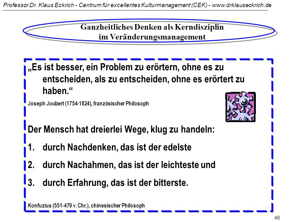 Professor Dr. Klaus Eckrich - Centrum für excellentes Kulturmanagement (CEK) - www.drklauseckrich.de 47 Ganzheitliches Denken... bezeichnet die Method