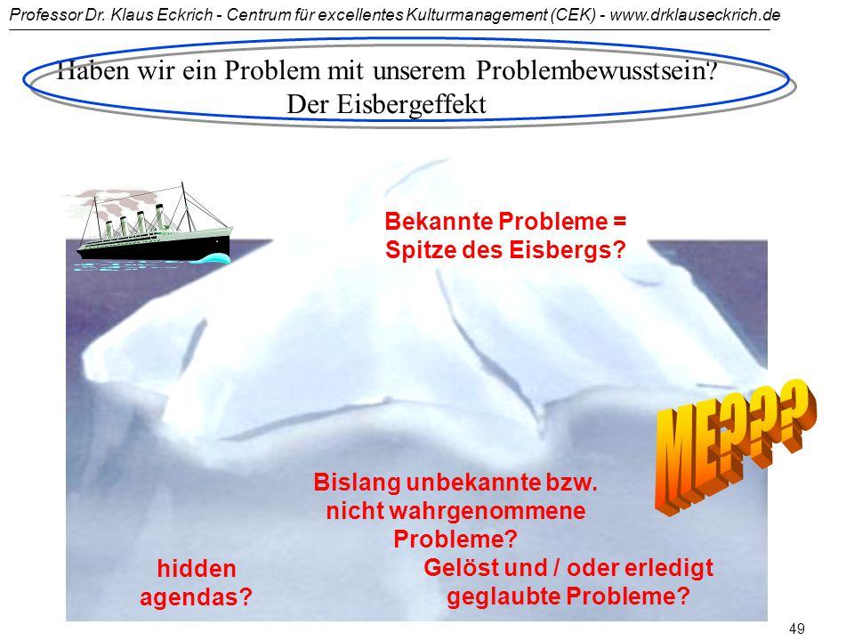 """Professor Dr. Klaus Eckrich - Centrum für excellentes Kulturmanagement (CEK) - www.drklauseckrich.de 48 """"Es ist besser, ein Problem zu erörtern, ohne"""