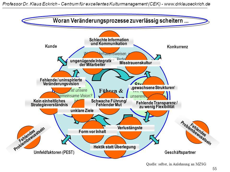 Professor Dr. Klaus Eckrich - Centrum für excellentes Kulturmanagement (CEK) - www.drklauseckrich.de 54 Führen und Verändern - Steuerungsebenen und St