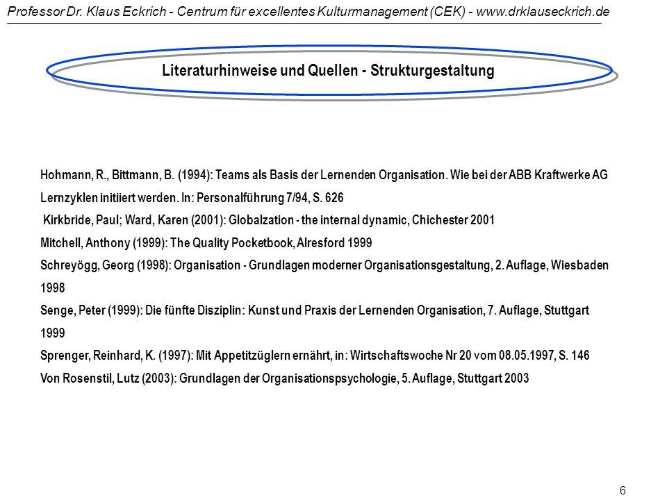 Professor Dr. Klaus Eckrich - Centrum für excellentes Kulturmanagement (CEK) - www.drklauseckrich.de 5 Henderson, Bruce D., Das Boston Consulting Grou