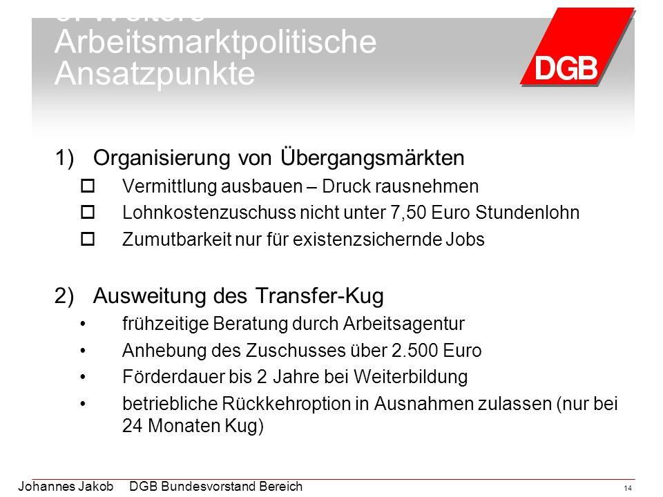 Johannes Jakob DGB Bundesvorstand Bereich Arbeitsmarktpolitik 14 5. Weitere Arbeitsmarktpolitische Ansatzpunkte 1)Organisierung von Übergangsmärkten 