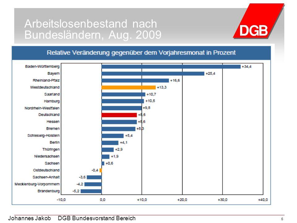 5 Arbeitslosenbestand nach Bundesländern, Aug. 2009
