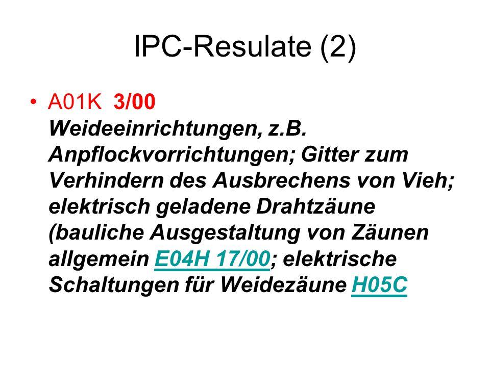IPC-Resulate (2) A01K 3/00 Weideeinrichtungen, z.B. Anpflockvorrichtungen; Gitter zum Verhindern des Ausbrechens von Vieh; elektrisch geladene Drahtzä