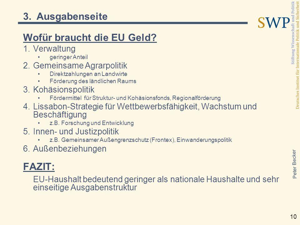 Peter Becker 10 Wofür braucht die EU Geld? 1.Verwaltung geringer Anteil 2.Gemeinsame Agrarpolitik Direktzahlungen an Landwirte Förderung des ländliche