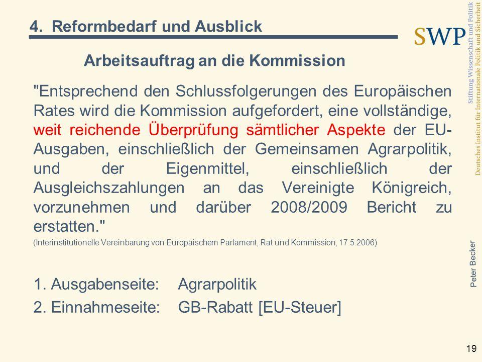 Peter Becker 19 Arbeitsauftrag an die Kommission Entsprechend den Schlussfolgerungen des Europäischen Rates wird die Kommission aufgefordert, eine vollständige, weit reichende Überprüfung sämtlicher Aspekte der EU- Ausgaben, einschließlich der Gemeinsamen Agrarpolitik, und der Eigenmittel, einschließlich der Ausgleichszahlungen an das Vereinigte Königreich, vorzunehmen und darüber 2008/2009 Bericht zu erstatten. (Interinstitutionelle Vereinbarung von Europäischem Parlament, Rat und Kommission, 17.5.2006) 1.