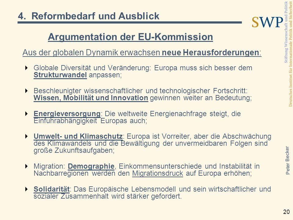 Peter Becker 20 Argumentation der EU-Kommission Aus der globalen Dynamik erwachsen neue Herausforderungen:  Globale Diversität und Veränderung: Europ