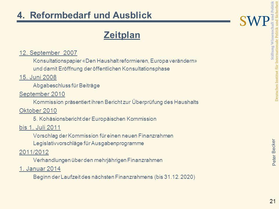 Peter Becker 21 Zeitplan 12. September 2007 Konsultationspapier «Den Haushalt reformieren, Europa verändern» und damit Eröffnung der öffentlichen Kons