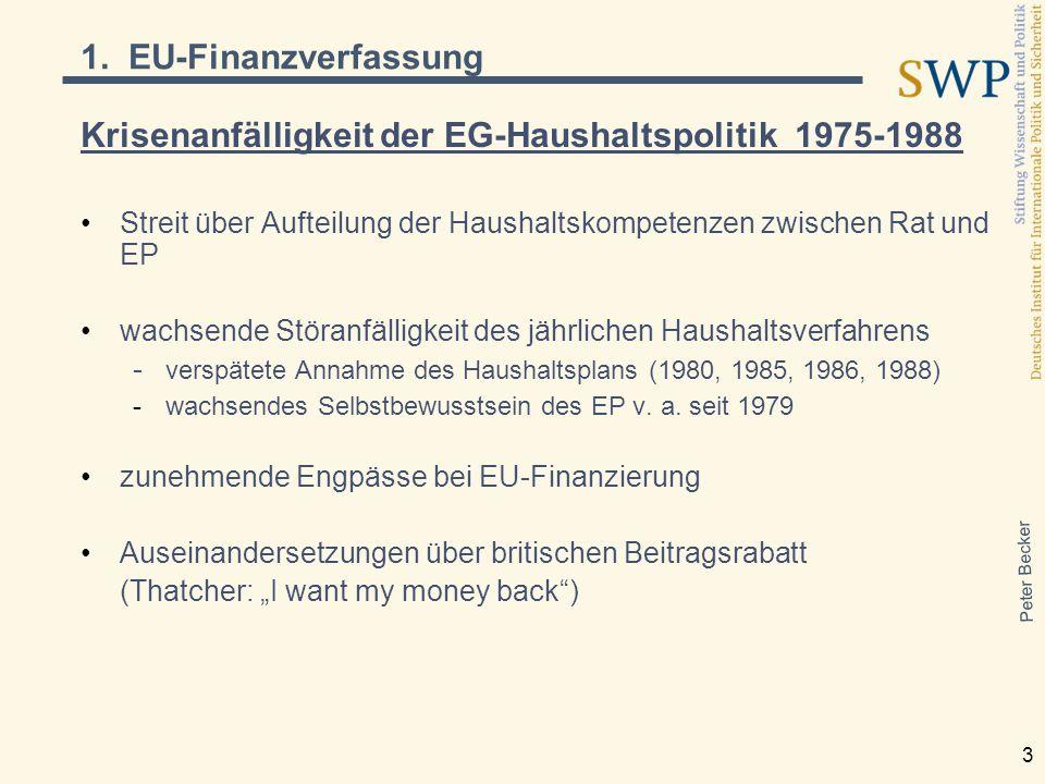 Peter Becker 3 Krisenanfälligkeit der EG-Haushaltspolitik 1975-1988 Streit über Aufteilung der Haushaltskompetenzen zwischen Rat und EP wachsende Störanfälligkeit des jährlichen Haushaltsverfahrens - verspätete Annahme des Haushaltsplans (1980, 1985, 1986, 1988) -wachsendes Selbstbewusstsein des EP v.