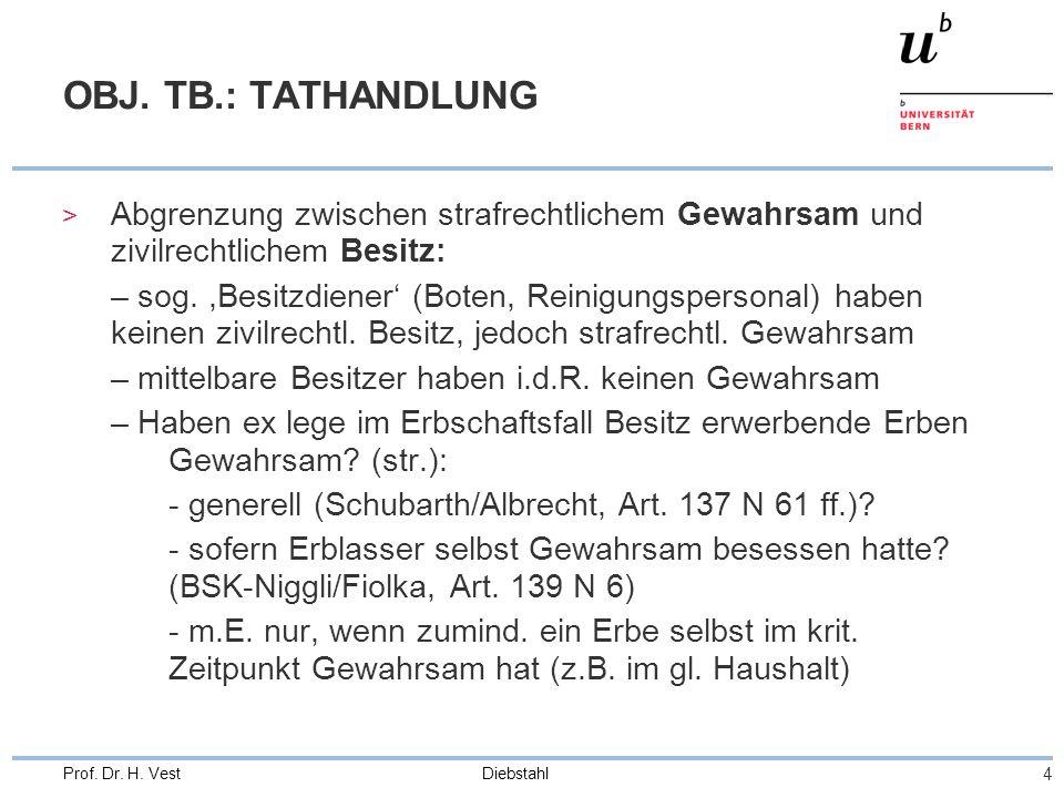 Diebstahl 4 Prof. Dr. H. Vest OBJ. TB.: TATHANDLUNG > Abgrenzung zwischen strafrechtlichem Gewahrsam und zivilrechtlichem Besitz: – sog.,Besitzdiener'