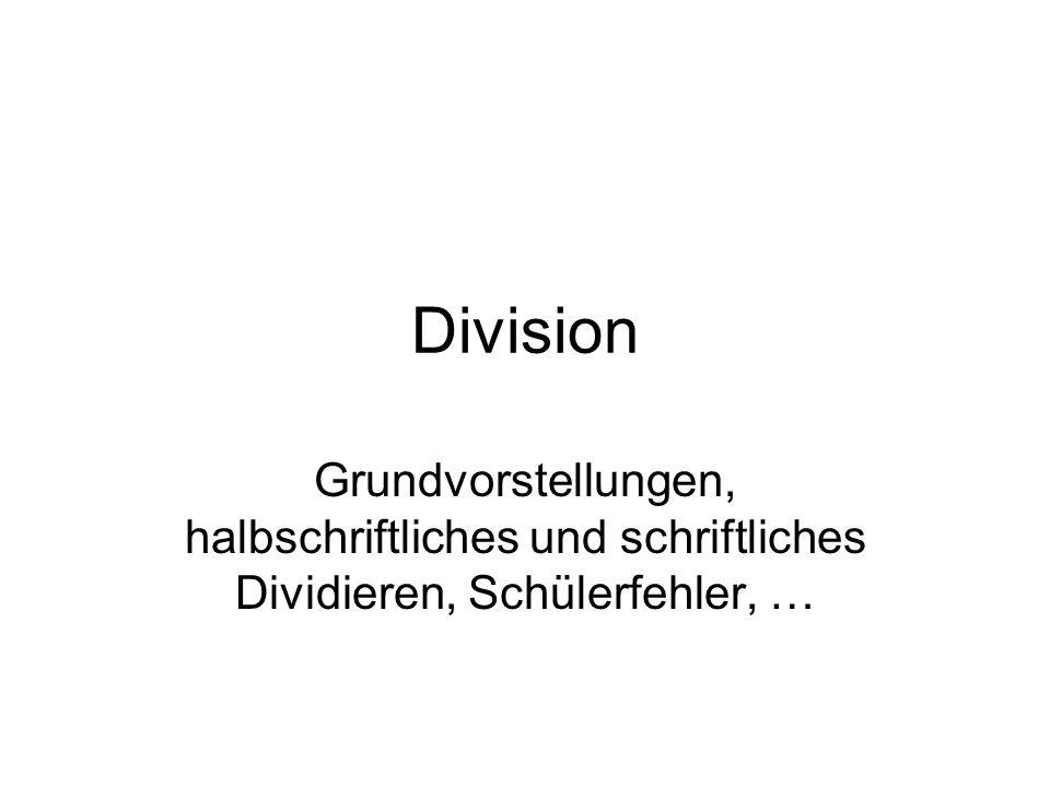 Division nach Adam Ries Auch hier wird im Sinne des Ausmessens/Aufteilens geprüft, wie oft der Divisor vom Dividenden abgezogen werden kann.