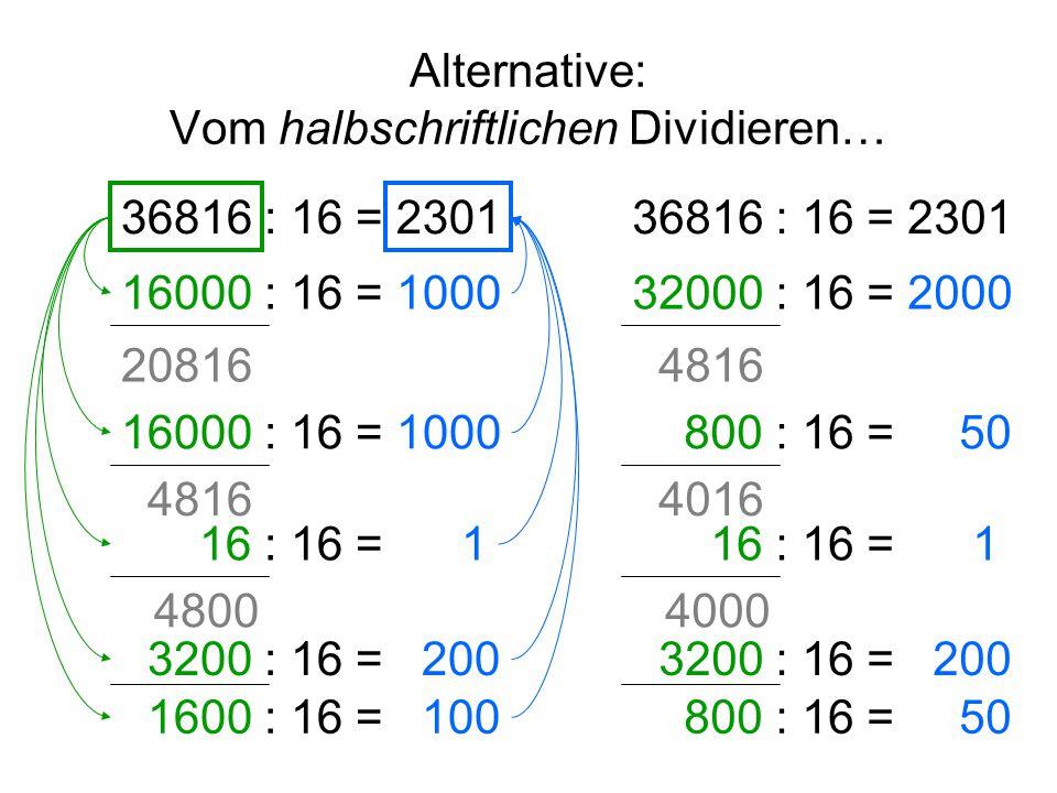 Alternative: Vom halbschriftlichen Dividieren… 36816 : 16 = 16000 : 16 = 1000 20816 4816 3200 : 16 = 200 16 : 16 = 1 4800 1600 : 16 = 100 36816 : 16 = 2301 32000 : 16 = 2000 800 : 16 = 50 4816 4016 3200 : 16 = 200 16 : 16 = 1 4000 800 : 16 = 50 2301