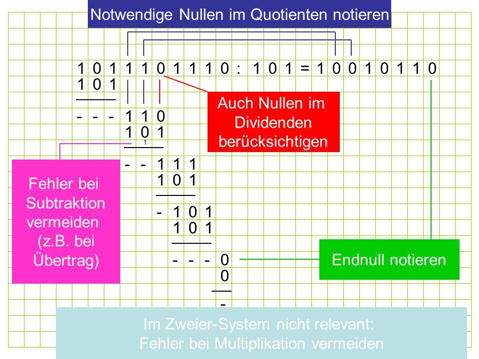 01011101110:101=0001111 101 110 110 111 101 101 011 0 --- -- - --- 1 Endnull notieren Notwendige Nullen im Quotienten notieren Auch Nullen im Dividenden berücksichtigen Fehler bei Subtraktion vermeiden (z.B.