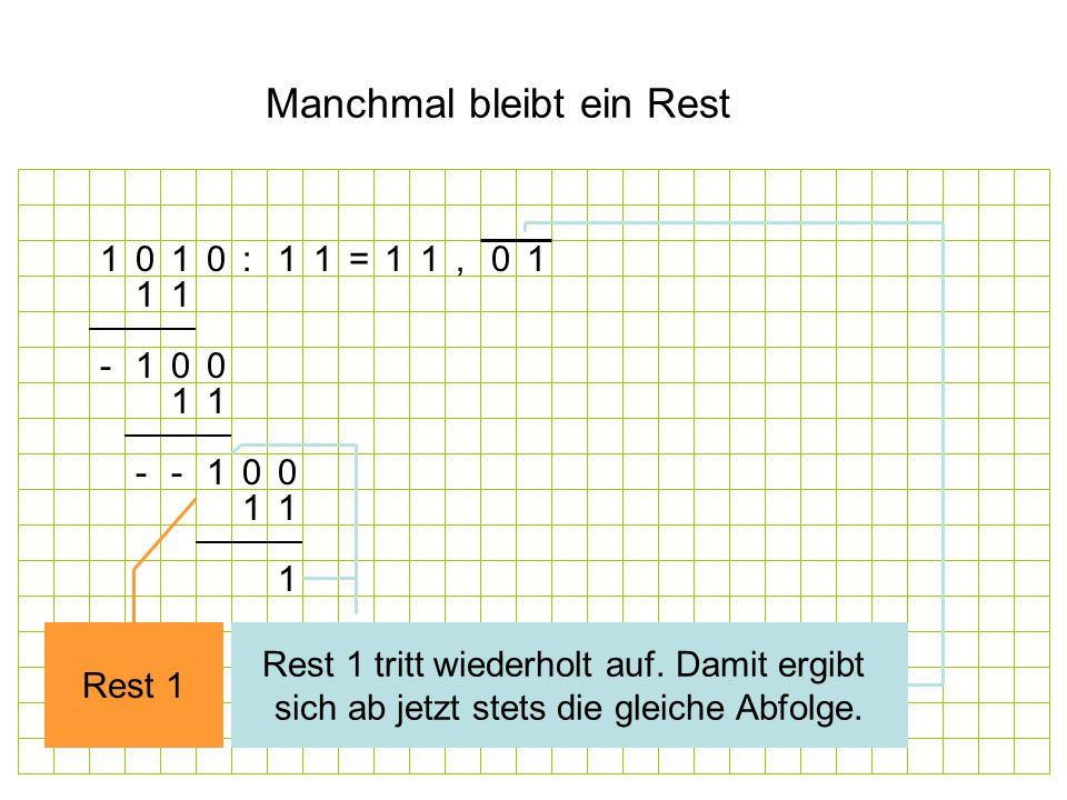 Manchmal bleibt ein Rest 1 1 01-0 1 11 1--0 0 0 1 11 1, Rest 1 Rest 1 tritt wiederholt auf.
